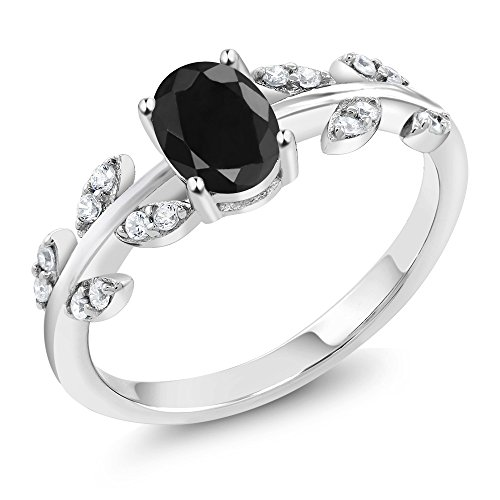 - 1.28 Ct Oval Black Sapphire 925 Sterling Silver Olive Vine Ring (Size 6)