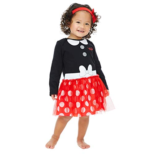 Minnie Mouse Costume Cheap (Disney Minnie Mouse Baby Girls Costume Bodysuit & Headband Dress Set 18)