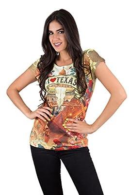 Sweet Gisele Womens Texas Love Short Sleeve Souvenir Printed T Shirt