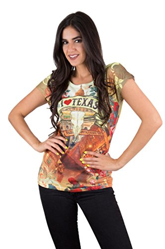 Texas Sleeve T-shirt Longhorns Short - Women's I Love Texas Short Sleeve Souvenir T-Shirt (XL)