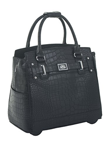 ''The Classic'' Black Alligator Crocodile Rolling iPad Tablet or Laptop Tote Carryall Bag by JKM and Company (Image #1)