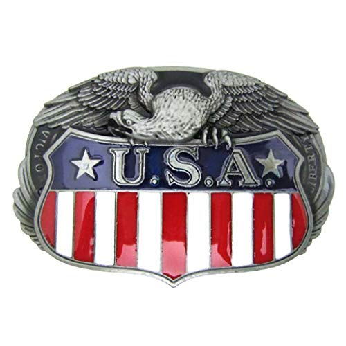 Western Cool Eagle USA American Flag Belt Buckle Metal Cowboy Mens' Country Buckles for ()
