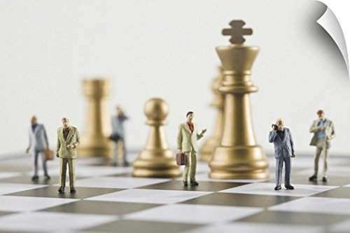 Canvas On Demand Wall Peel Wall Art Print entitled Businessmen figurines standing a top chess board 36
