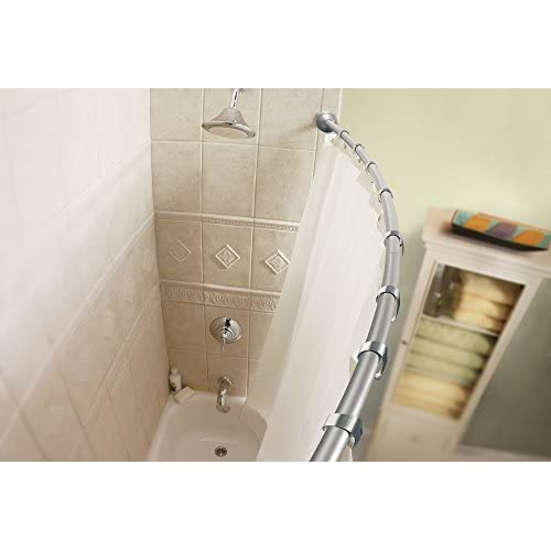 Moen CSR2155-RR-BN 5' Curved Shower Rod with Shower Curtain Roller Rings, Brushed Nickel 30%OFF