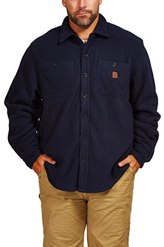 Tactical High Vis Reversible Jacket (Coleman Solid Sherpa Fleece Shirt Jacket (Medium, Navy))