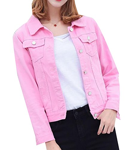 Stonewashed Denim Jacket - Alion Women's Vintage Stone Washed Denim Cropped Jean Jacket Pink XS