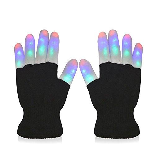 #1 Premium quality LED Lighting Gloves, Flashing fingers, Rave gloves, colorful gloves, light show by TRITECHNOX (Black - lighting fingers, Type 1)