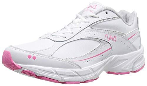 Ryka Women's Comfort Walk Leather-w, White/Chrome Silver/Hot Pink, 9.5 W US