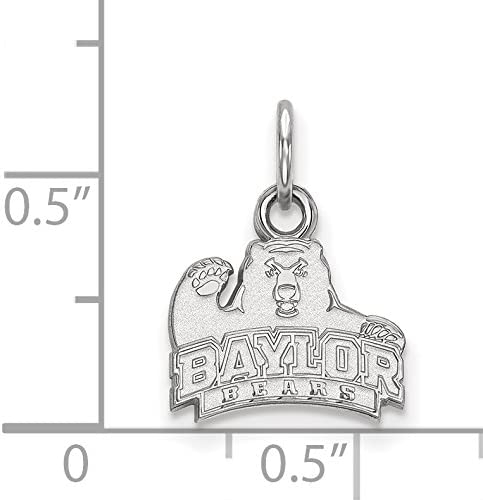 10k White Gold Baylor University Bears Bruiser School Mascot Pendant 10x11mm