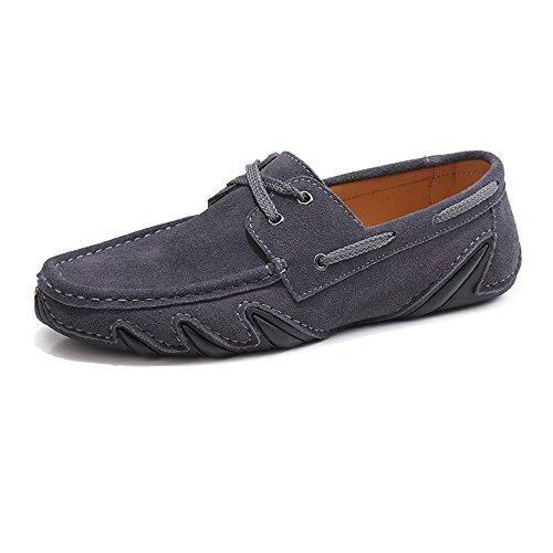 UP 43 Suela Gris Mens shoes Mocassins Cuero Penny Suave tamaño Color Lace Loafers Meimei Driving EU Genuino Plana YxqwqUa
