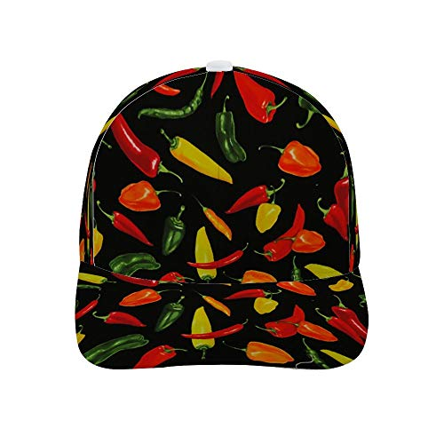 Adult Printing Bended Rubber Baseball Cap Red Yellow Pepper Sun hat for Outdoor Polo Golf Cap]()