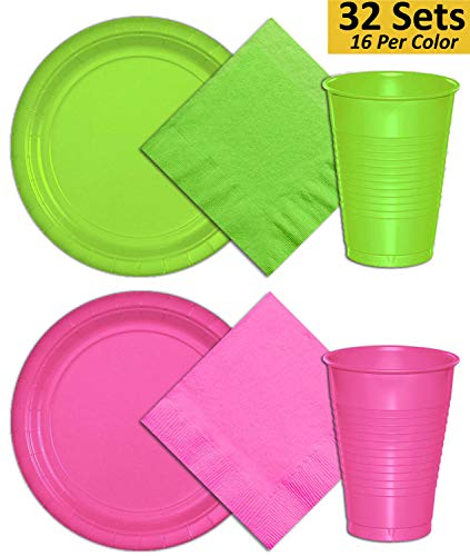 Plates, Cups, Napkins - 32 Sets - Lime Green Hot Pink - 16 Per Color Per Item. 9