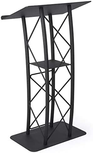 Displays2go Black Aluminum and Steel Truss Lectern with Curved Design and Built-In Shelf, 47-Inch Tall, Textured Finish LCTTACBK