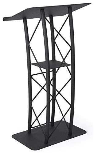 Displays2go Black Aluminum and Steel Truss Lectern with Curved Design and Built-In Shelf, 47-Inch Tall, Textured Finish (LCTTACBK) ()