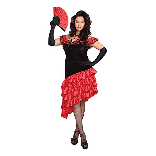 Spanish Dancer Fancy Dress Costume (Dreamgirl Women's Plus-Size Spanish Dancer Costume, Black/Red, 1X/2X)