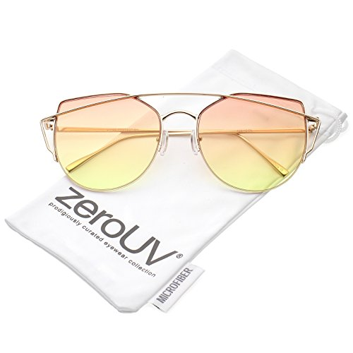 zeroUV - Women's Semi Rimless Metal Brow Bar Round Colored Flat Lens Cat Eye Sunglasses (Gold / Orange-Yellow) (Brow Bar)