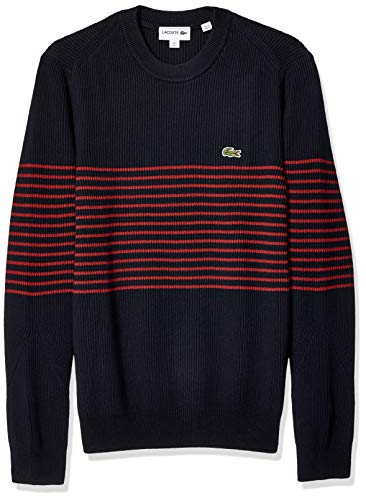 Lacoste Men's Long Sleeve Rib Cotton with Striped Center Sweater, Navy Blue/IBERIS, Large
