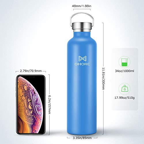 OMORC 316 Stainless Steel Sports Water Bottle-20oz,34oz, Double Wall Vacuum Insulated Water Bottle, Straw and 2 Lids, Wide Mouth,Thermo Travel Modern Mug,Stay Cold for 48 Hrs,Hot for 24 Hrs,BPA Free