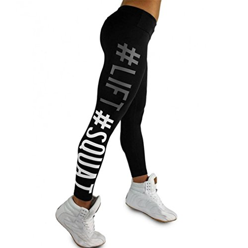 Letter Yoga Pants, Women's Fashion Workout Leggings Fitness Sports Gym Running Yoga Athletic Pants by Neartime (S, Black) (Ashley Black In Dress)