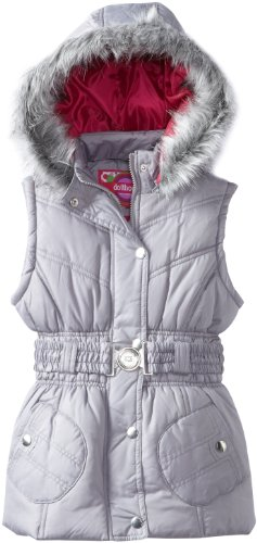 Dollhouse Girls 7-16 Belted Bubble Vest With Fur Hood