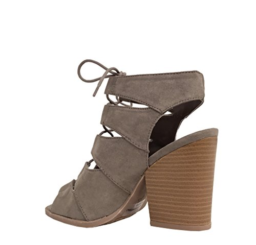 Qupid Womens Barnes-01a Ankle Bootie Taupe Faux Suede ty7cfV7ELG