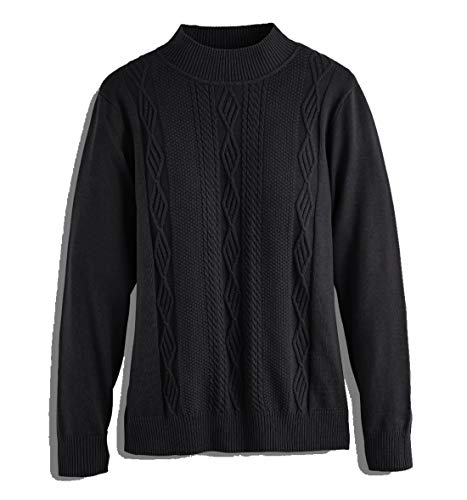 Alfred Dunner Women's Fall Classics 2018 Long Sleeve Mock Neck Sweater (Medium, Black) ()