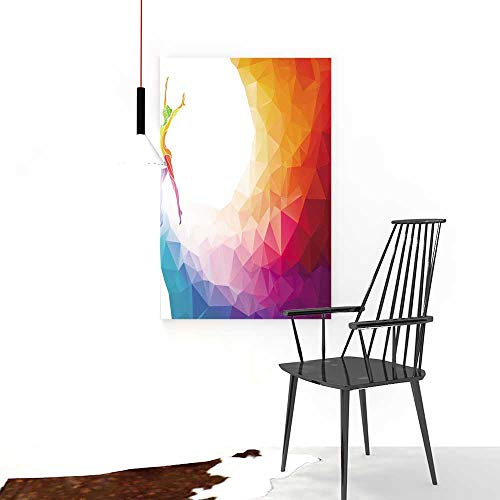 Auraise-home Color Wall Art Painting FramelessUhoo Suits & Floor and Creative silhouetteof Gymnastic Girl Hotel Office Decor Gift Piece W24 x H32 ()
