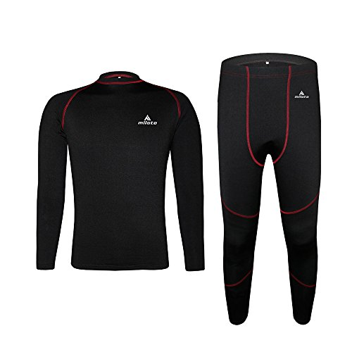 Uriah Unisex Thermal Underwear Sets Long Sleeve Black Red Size L