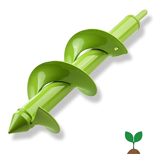 """Auger Drill Bit, Garden Plant Flower Bulb HEX Shaft Auger 3"""" x 12"""" Rapid Planter with Garden Genie Gloves, Post or Umbrella Hole Digger for 3/8"""" Hex Drive Drill"""