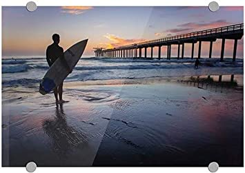 La Jolla 5-Pack Circle CaptureScripps Beach Pier and Surfer Silhouette at Sunset San Diego Premium Acrylic Sign CGSignLab | 18x12