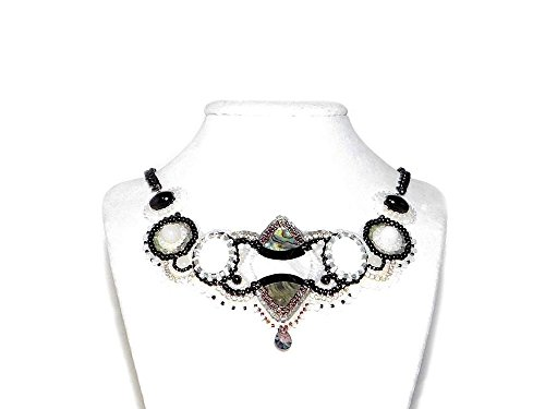 - Bead Embroidered Bib Necklace with Paua & Mother-of-Pearl Cabochons, White Jade, Snow Quartz & Black Onyx Beads. White and Black Necklace. Free Shipping Canada & USA