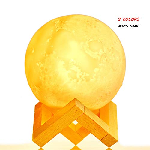 3D Moon Lamp with Stand, 4.9 - Realistic Moon Light with 3 Lunar Colors (Warm/Cool White and Yellow), Touch Control, Perfect for Baby Kids Birthday Party, Cool Christmas Present (4.9 INCH)