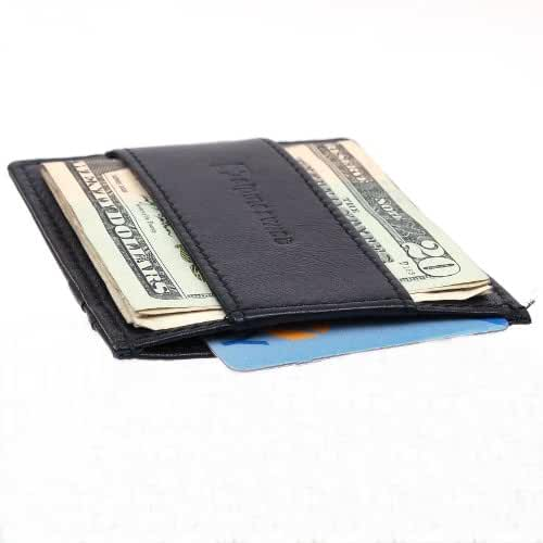 Alpine Swiss Genuine Leather Super Thin Slim Cash Strap Front Pocket Wallet