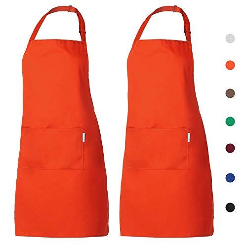 esonmus Cooking Aprons 2pcs/Set Adults Polyester Kitchen BBQ Restaurant Apron with Adjustable Neck Belt 2 Pockets for Cooking Baking Gardening for Men - Orange Apron Bbq