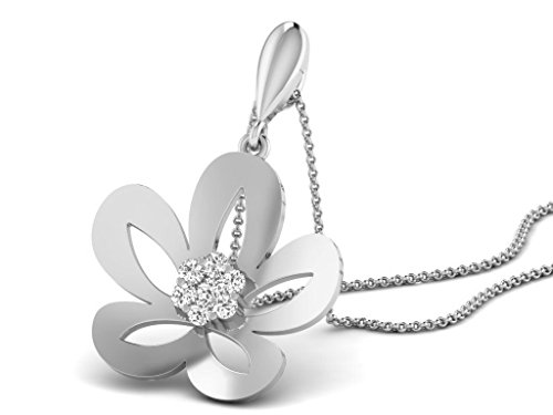 Or Blanc 18 ct Pendentifs Diamant en forme de Fleur, 0.1 Ct Diamant, GH-SI, 2.02 grammes.