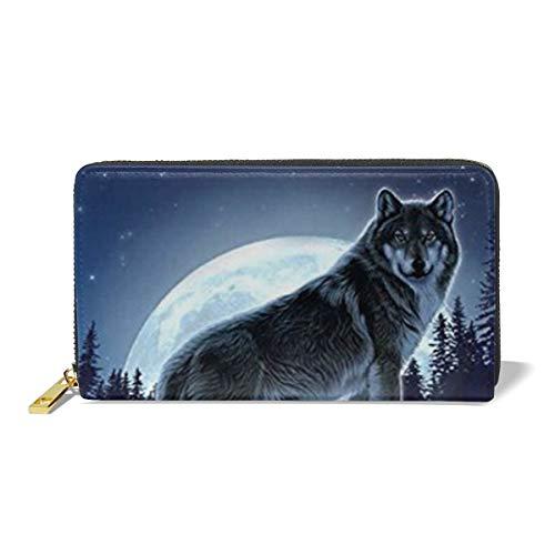 Women Leather Wallet Zipper Around Clutch Purse Waterproof Card Holder Slim Handbag - Wolf Moon