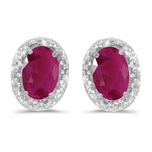 (10k White Gold Oval Ruby And Diamond Earrings)