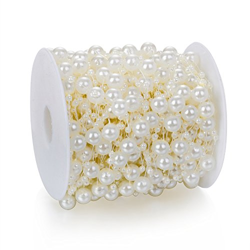 Heirtronic 90 Feet Ivory Faux Pearls Crystal Beads by The Roll for Garland Flowers Wedding Party Home Decoration & DIY Flower Accessories or Hair Band