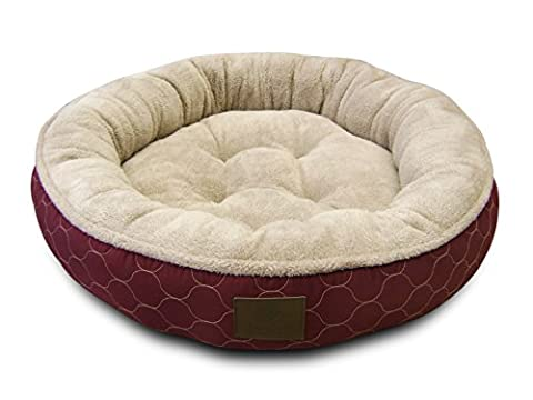 American Kennel Club AKC Circle Stitch Round Bed, Burgundy - Large Circle