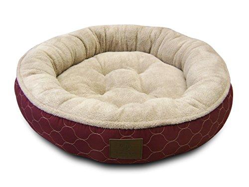 American Kennel Club AKC Circle Stitch Round Bed, Burgundy