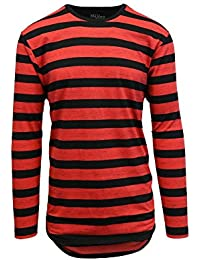 Men's Long Sleeves Striped Scallop Bottom T-Shirt