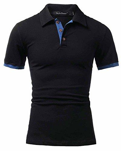 StyleDome Herrn Kurzarm Slim Fit Casual Polo Shirt Top Bluse Shirt Schwarz L