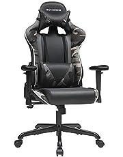 SONGMICS Gamingstoel, bureaustoel, ergonomische bureaustoel, verstelbare rugleuning, armleuningen, hoofd- en lendenkussen