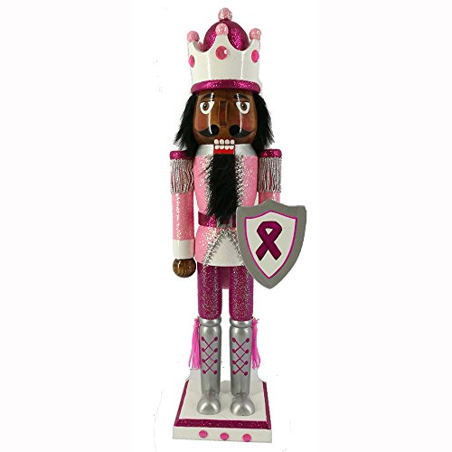 Christmas Holiday Wooden Ethnic Nutcracker Figure Soldier King with Pink Breast Cancer Support Uniform with Sparkle, Glitter, and Rhinestone Details, Large, 15 Inch by Nutcracker Ballet Gifts