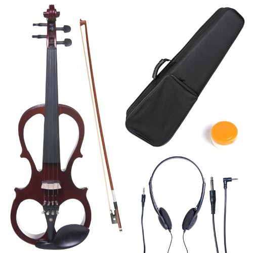 Cecilio L4/4CEVN-L1NA Left-Handed Solid Wood Mahogany Metallic Electric Violin with Ebony Fittings in Style 1 (Full Size) by Cecilio