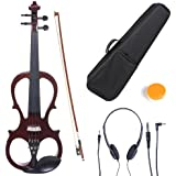 Cecilio L4/4CEVN-L1NA Left-Handed Solid Wood Mahogany Metallic Electric Violin with Ebony Fittings in Style 1 (Full Size)