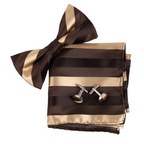 BT2185 Brown Stripes Fashion Presents Idea For Anniversary Silk Pre-tied Bow Tie Cufflink Hanky Gift Cheap By Epoint