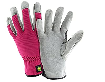 John Deere JD00016 WSM Split Cowhide Leather Gloves, Women's Small Medium, Pink Black (1 pair)