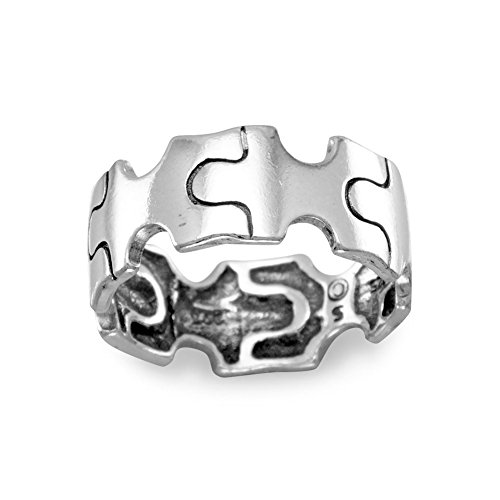 Oxidized Sterling Silver Puzzle Piece Ring The Band Is 18mm - Size 10 (10 18mm Piece Sterling)