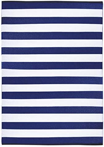 GD Home 150 x 240 cm Stripes Indoor Outdoor Light Weight Reversible Eco Rug, Classic Blue White